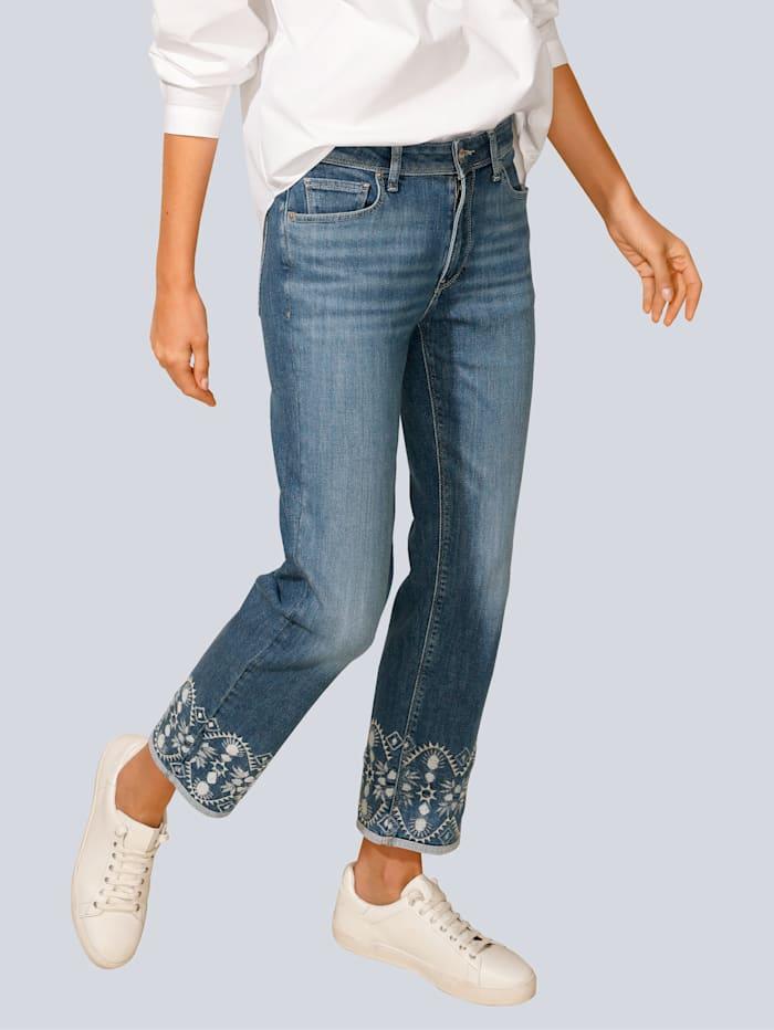 Raffaello Rossi Jeans mit Stickerei am Saum, Blue stone