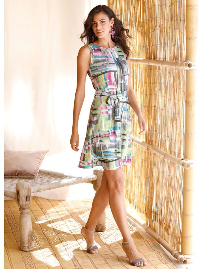 AMY VERMONT Kleid mit Bindegürtel, Weiß/Grün/Grau/Lila