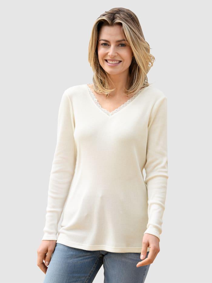 basically you Shirt mit Spitzeneinsatz am Ausschnitt, Off-white