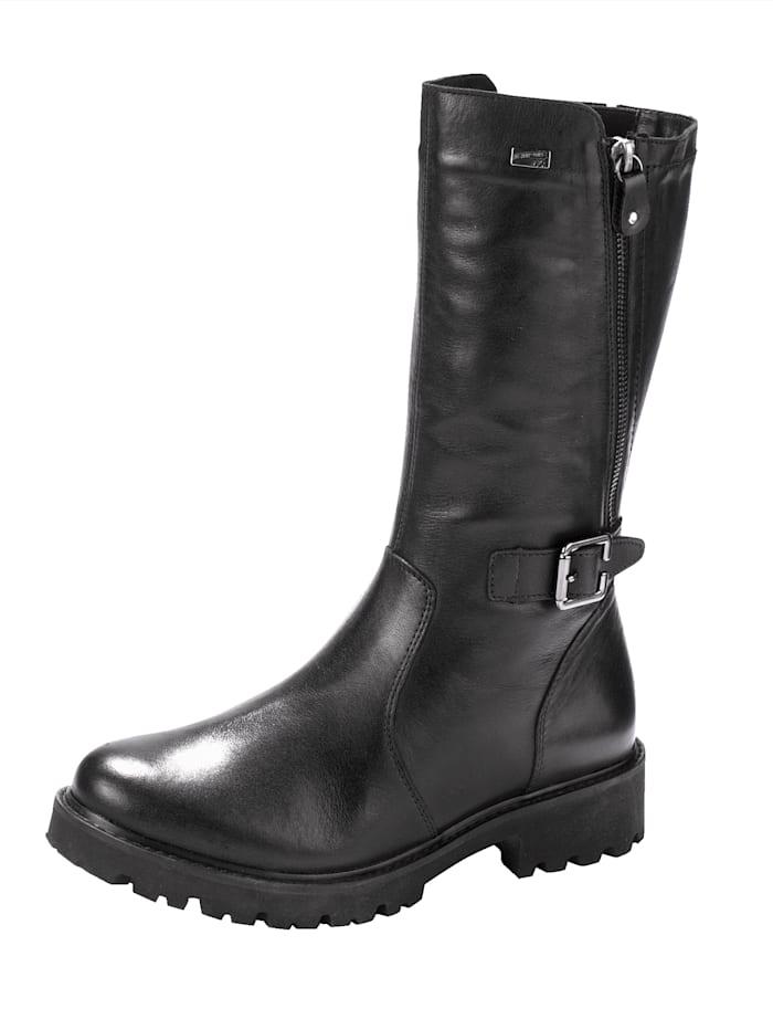 Remonte Stiefel mit Außenreißverschluss, welcher geöffnet eine neue Optik und zusätzlich Volumen bringt, Schwarz