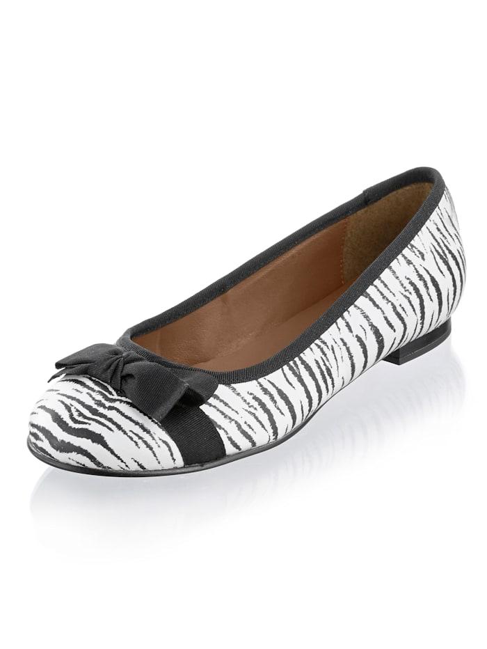 Alba Moda Ballerina met zebradessin, Wit/Zwart
