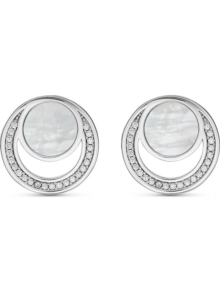 Jette JETTE Silver Damen-Ohrstecker 925er Silber 48 Zirkonia, silber