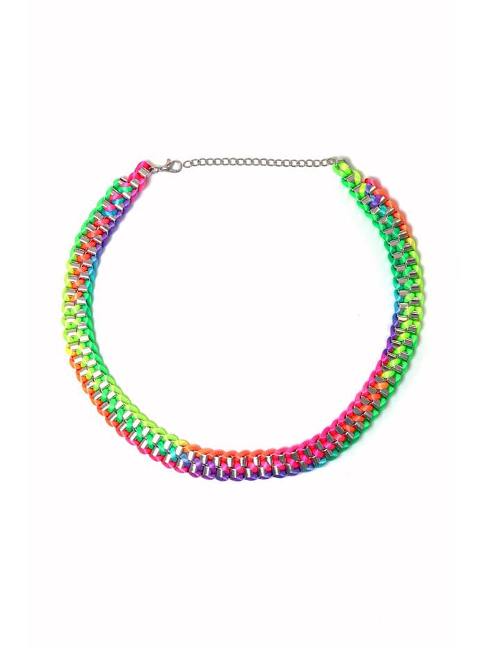 Kurze Kette Naomi mit regenbogenfarbigen Neonband umwickelt mit Neonband umwickelt