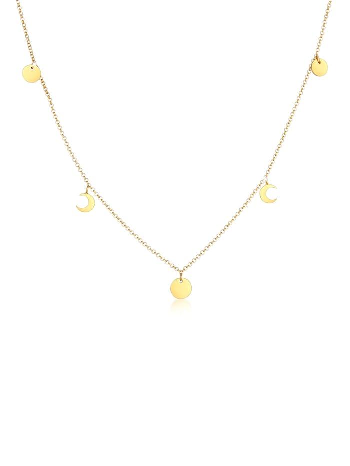 Elli Halskette Halbmond Astro Plättchen Trend Erbskette 925 Silber, Gold