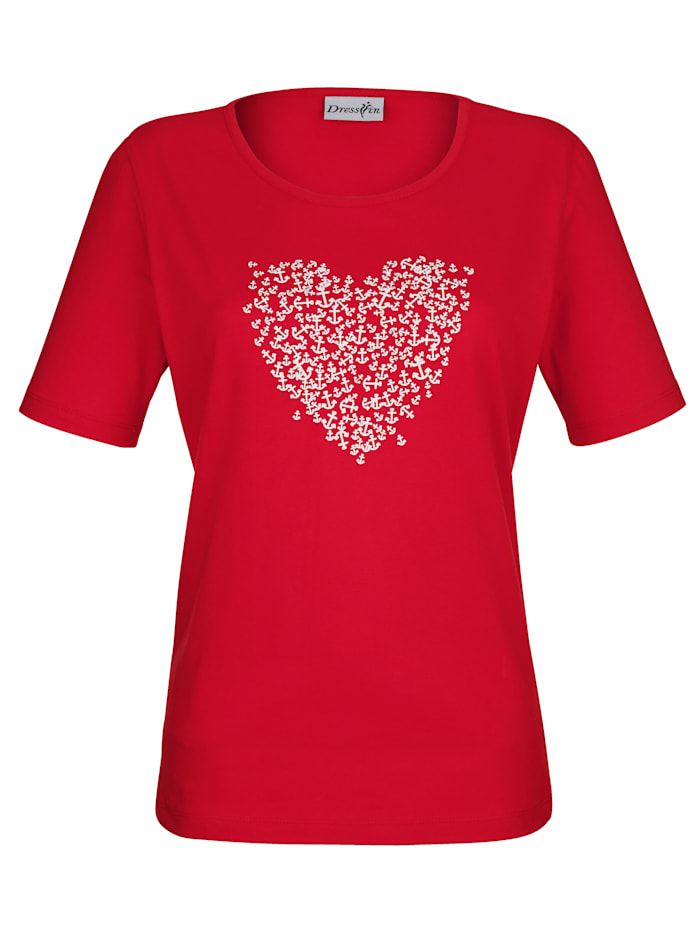 Dress In Shirt mit Ankerdruck, Rot
