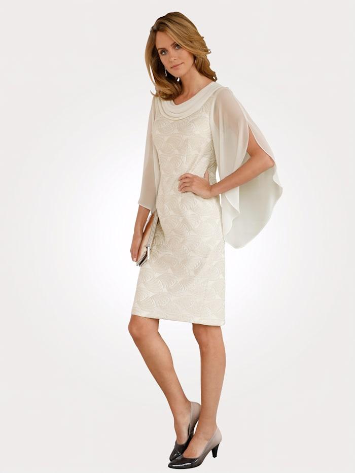 MONA Kleid mit Jacquarddessin, Ecru/Goldfarben