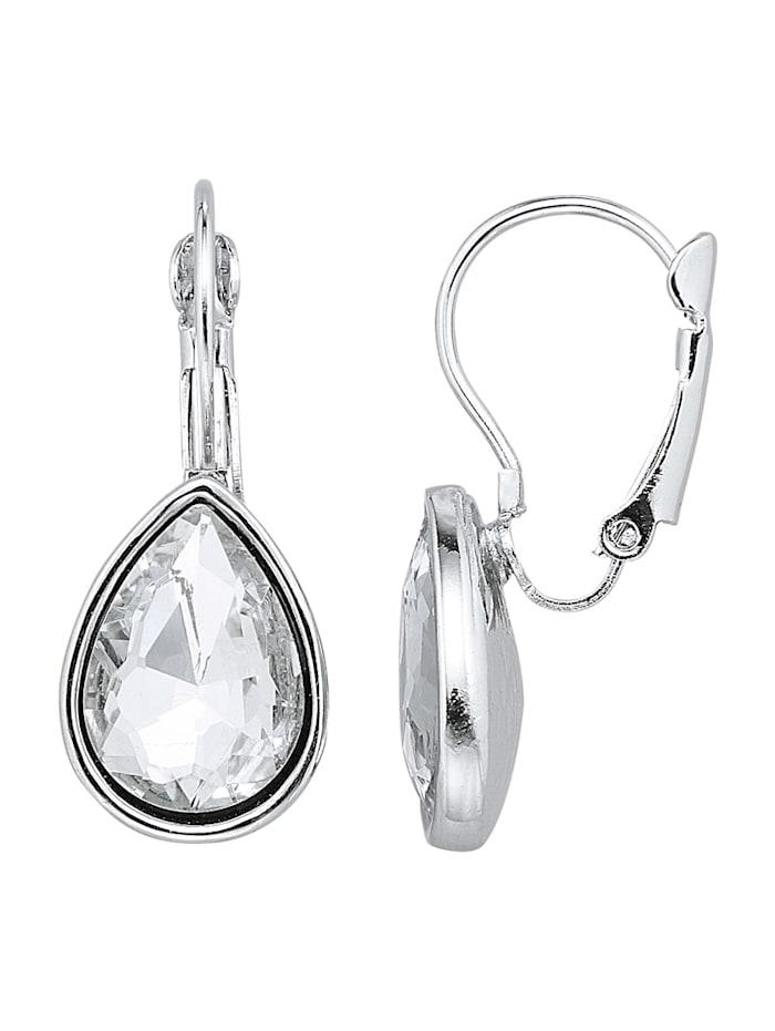 KLiNGEL Boucles d'oreilles à pierres de verre, Blanc