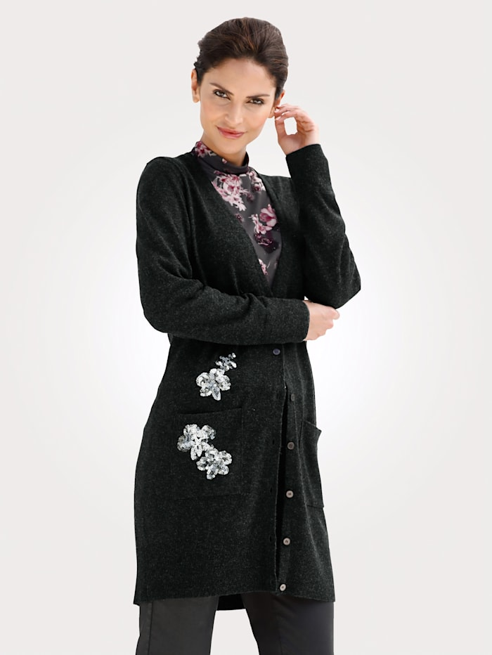 MONA Strickjacke mit Pailletten, Anthrazit