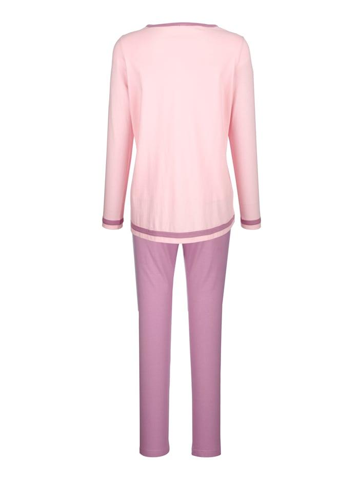 Pyjama's per 2 stuks in contrastkleurige uitvoering