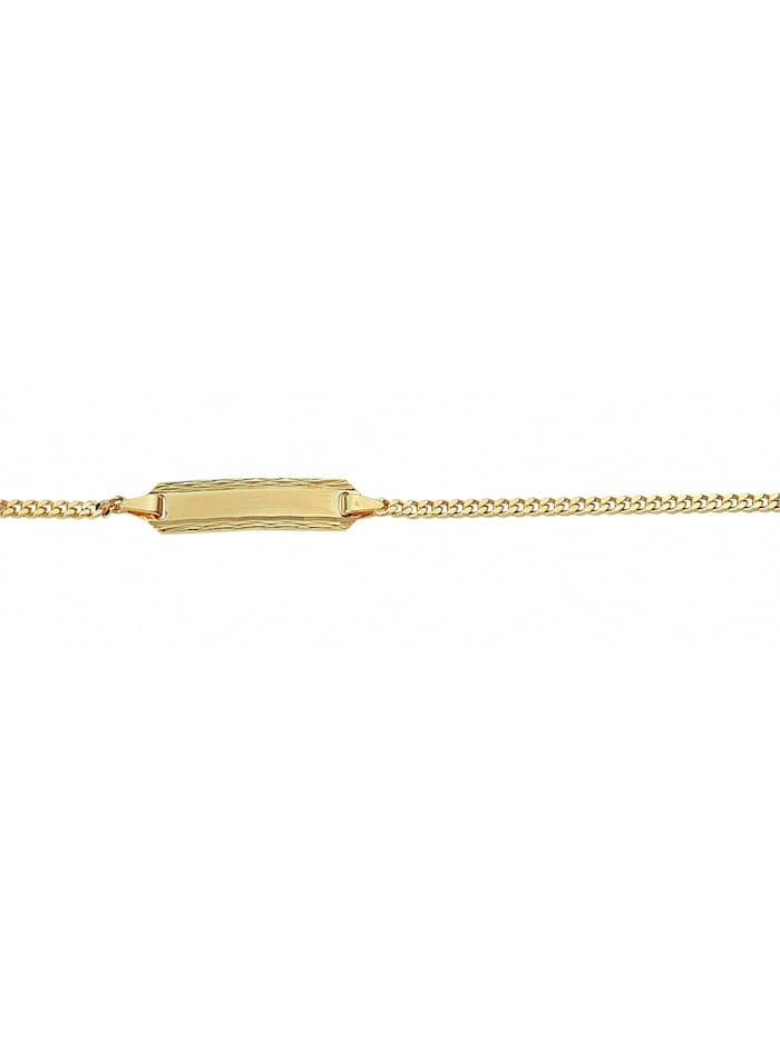 1001 Diamonds Damen Goldschmuck 585 Gold Flach Panzer Armband 14 cm Ø 1,7 mm, gold