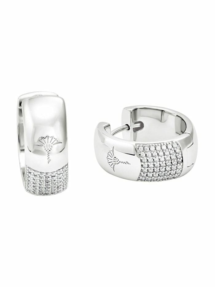 JOOP! Creolen für Damen, Silber 925, Zirkonia weiß, Silber