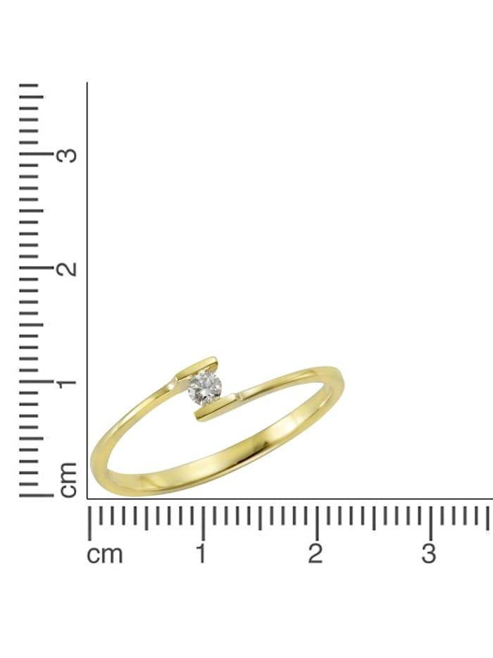 Ring 585/- Gold Brillant weiß Brillant Glänzend 0,06ct. 585/- Gold