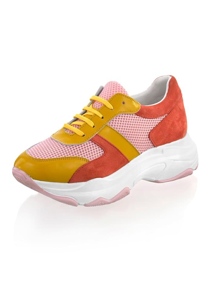 Alba Moda Sneaker in bunten Farben, Gelb/Koralle/Rosé