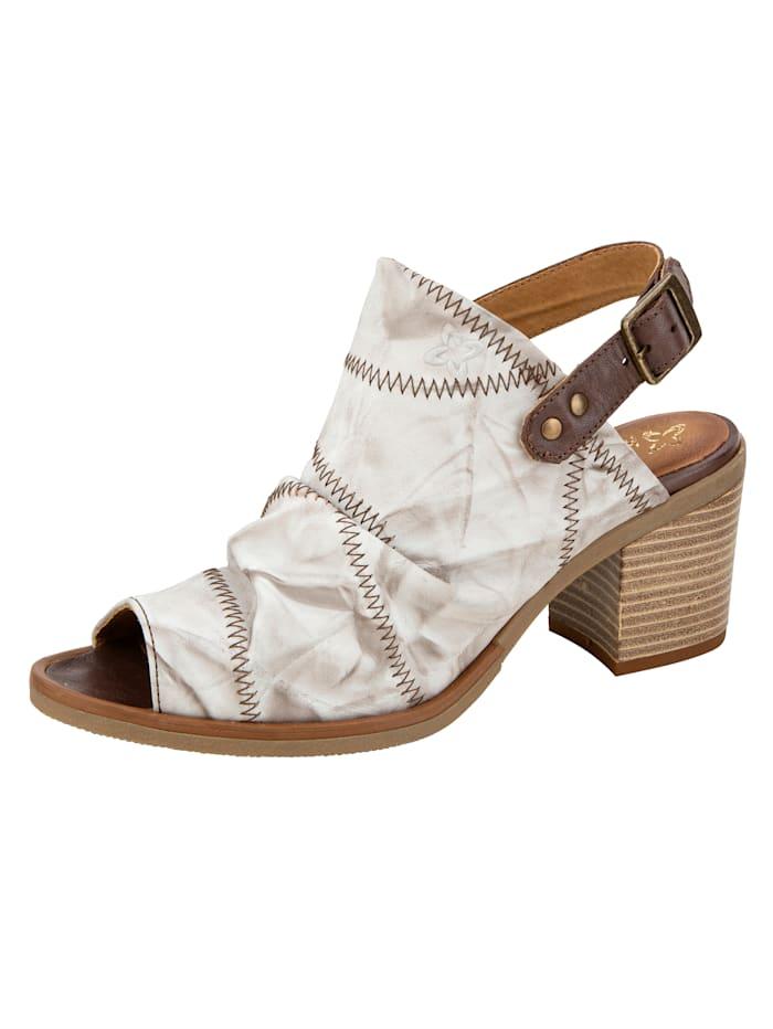 MACIEJKA Sandale mit kontrastfarbigen Ziernähten, Off-white