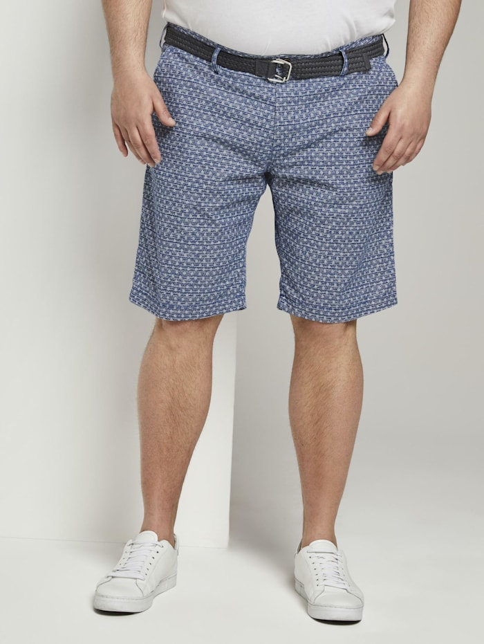 Tom Tailor Men Plus Gemusterte Josh Regular Slim Bermudashorts mit Gürtel, blue cactus structure design