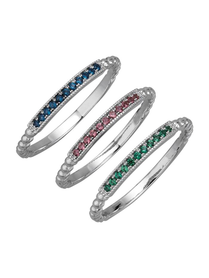 3tlg. Damenring-Set in Silber 925, Multicolor