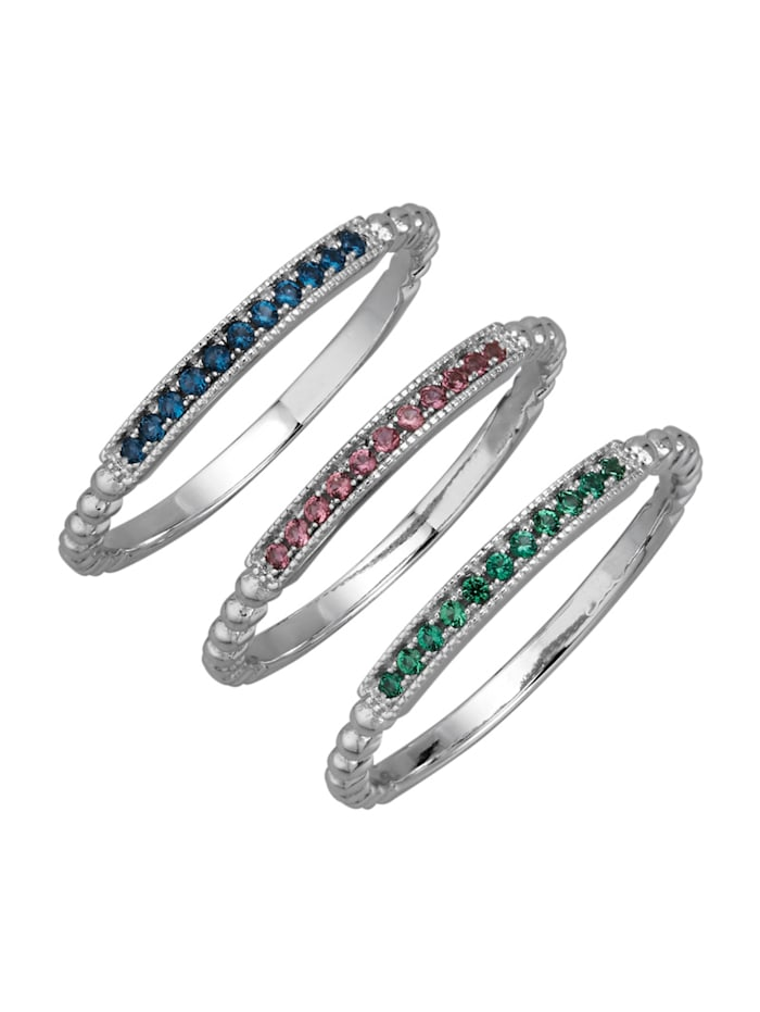 KLiNGEL 3tlg. Damenring-Set in Silber 925, Multicolor
