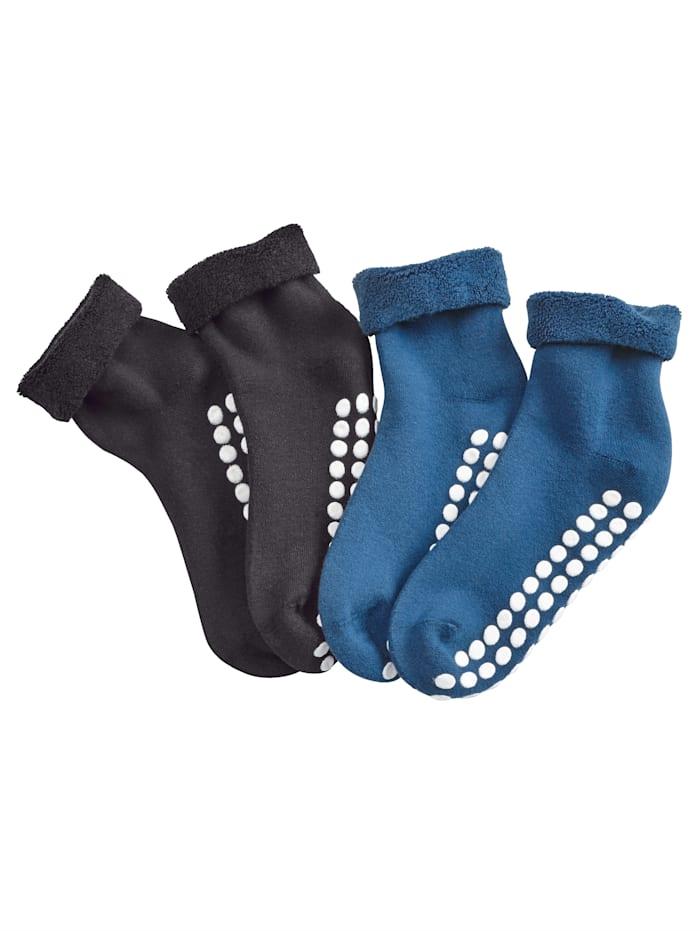 Blue Moon Chaussettes avec semelle antidérapante, Marine/Noir