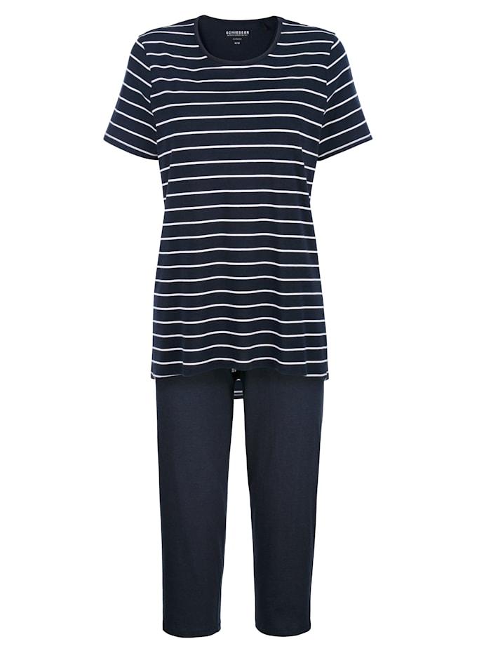 Schiesser Pyjama de coupe plus longue au dos, Marine/Blanc