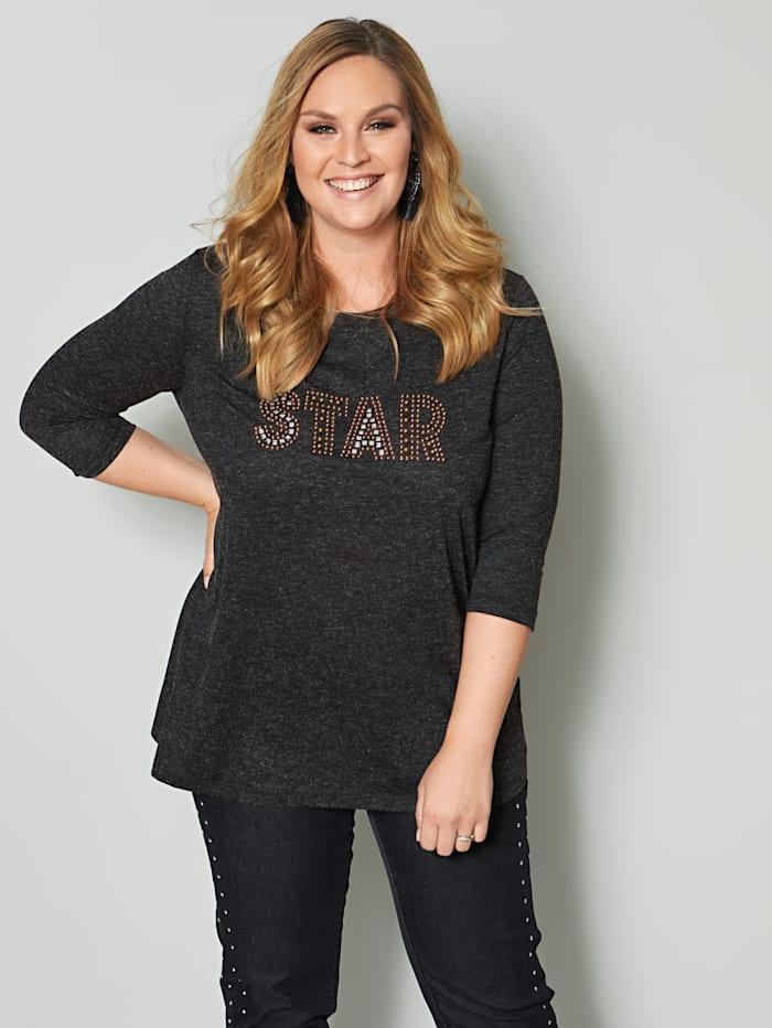 Sara Lindholm Shirt mit Schriftzug, Anthrazit
