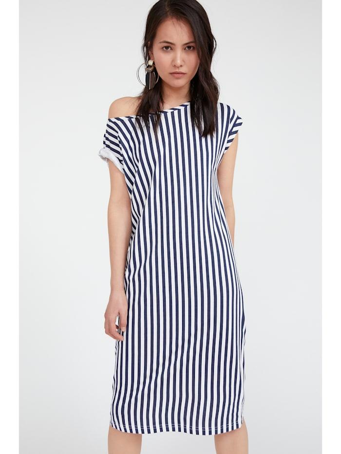 Shirtkleid mit vertikalem Streifenmuster