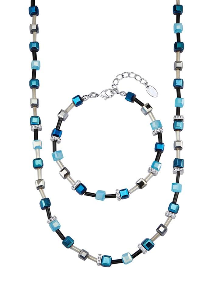 2tlg. Schmuck-Set mit Kristallen, Blau