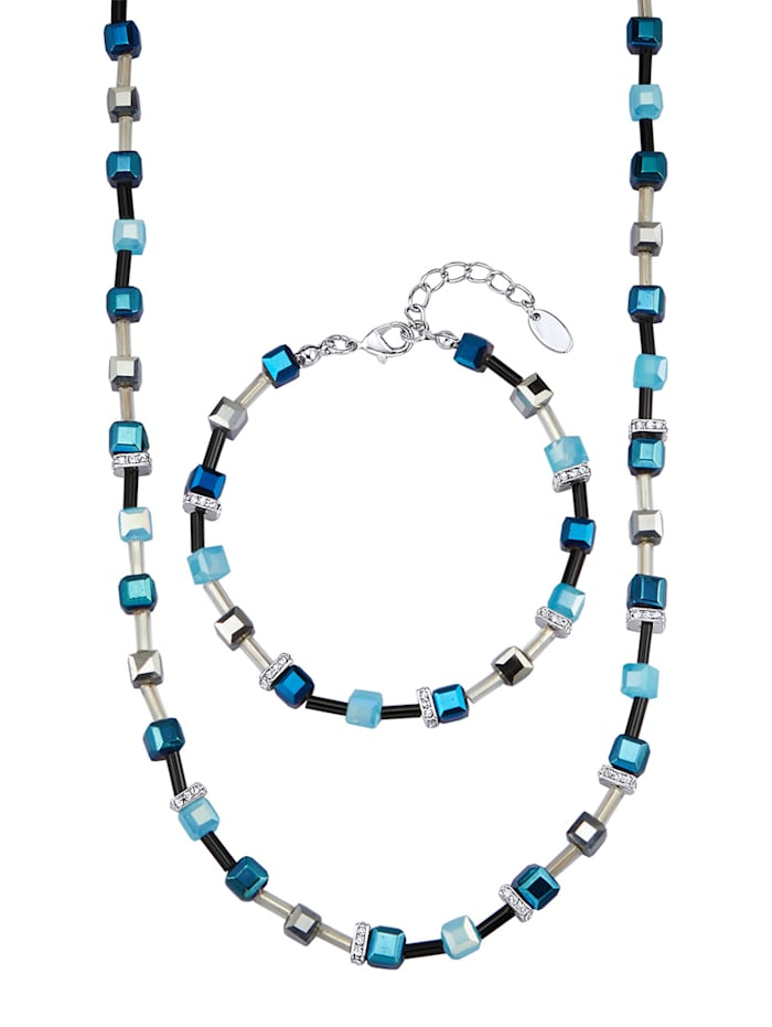 Kjede & armbånd med krystaller, Blå
