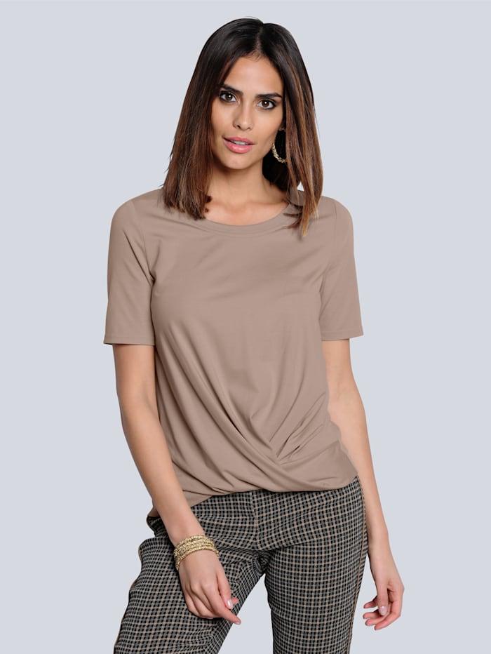 Alba Moda Shirt mit effektvoller Knotenoptik, Taupe