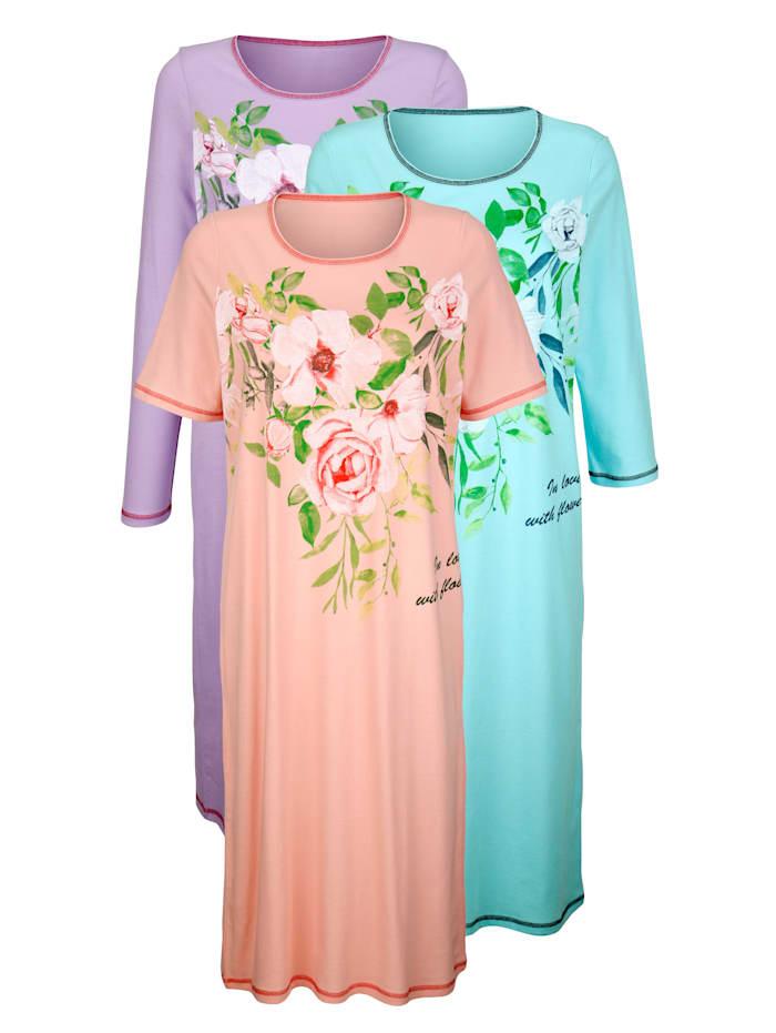 Harmony Nachthemden per 3 stuks met 3 verschillende mouwlengtes, Mint/Lila/Apricot
