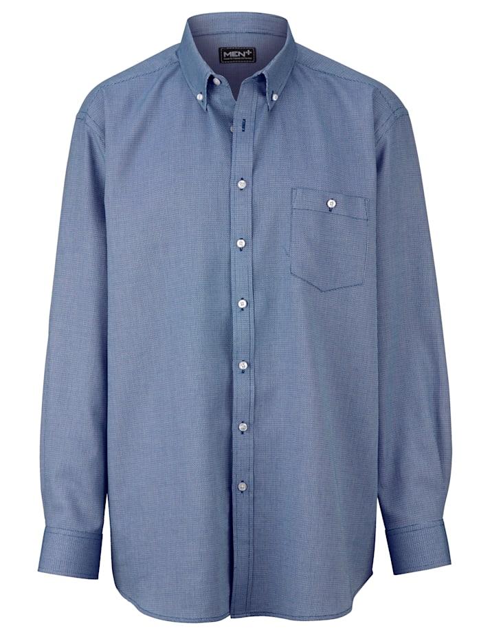 Men Plus Hemd aus reiner Baumwolle, blau/weiß