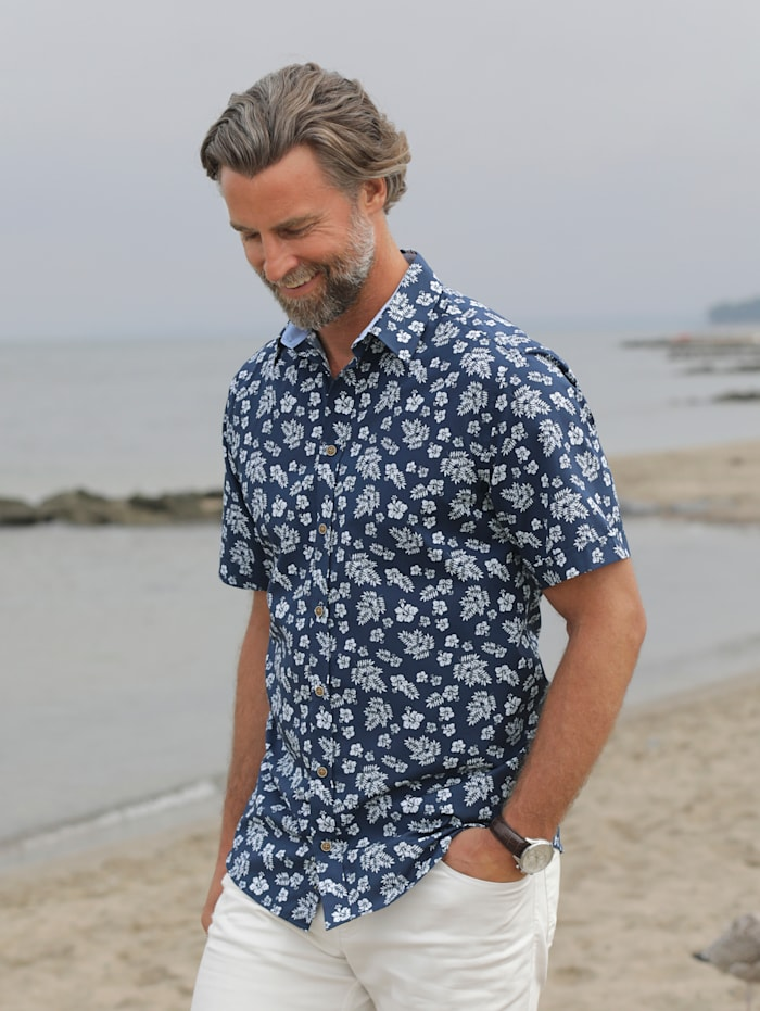 BABISTA Overhemd met bloemendessin, Blauw/Wit