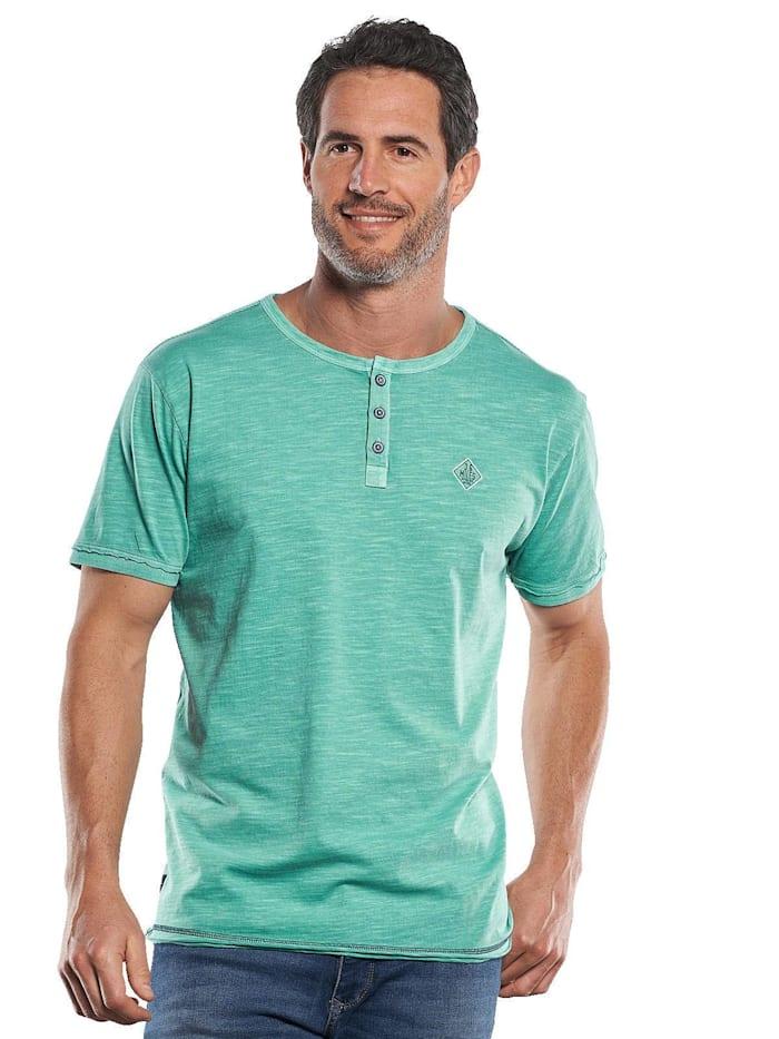 Engbers T-Shirt mit Knopfleiste und Kontrastdetails, Grasgrün