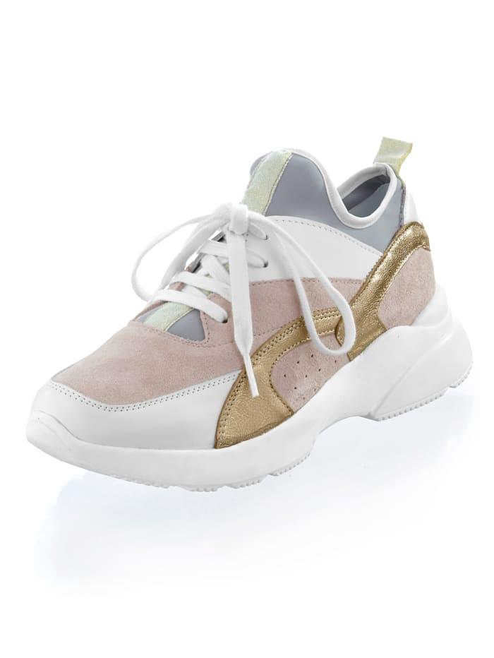 Alba Moda Sneaker van een materialenmix, Nude/Wit