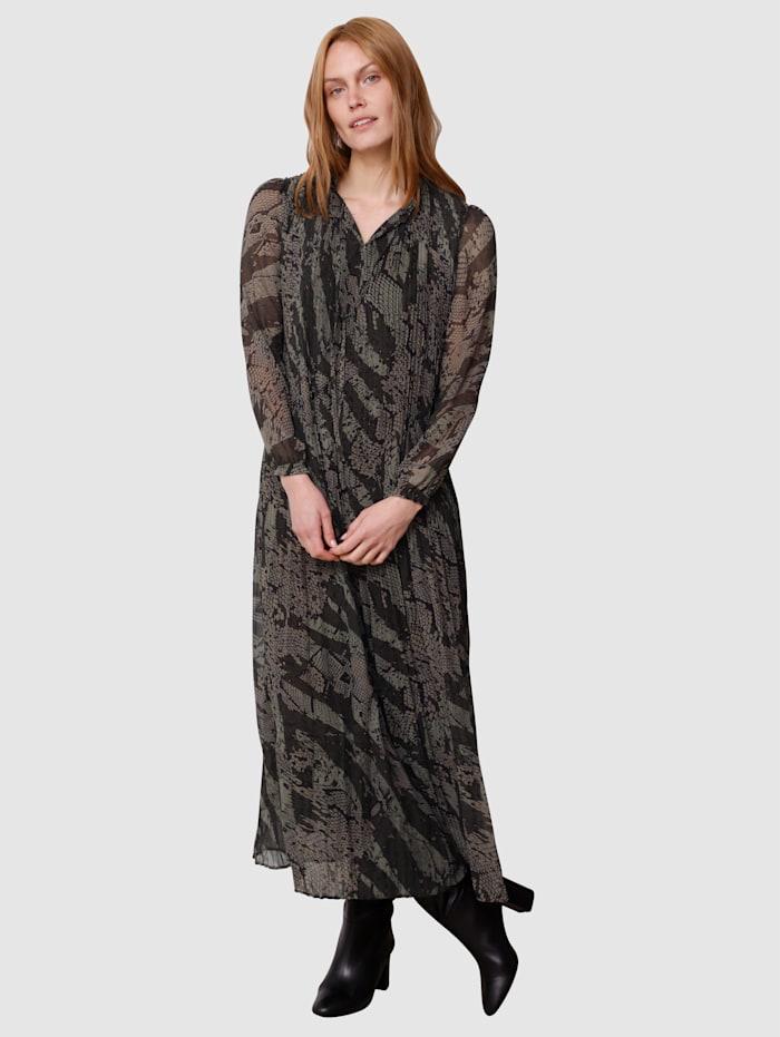 Laura Kent Kleid im Schlangen-Dessin, Schilf/Dunkelgrün