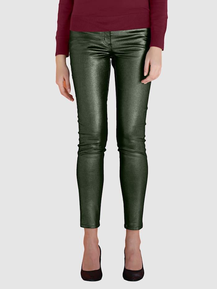 AMY VERMONT Kalhoty v metalickém vzhledu, Antracitová