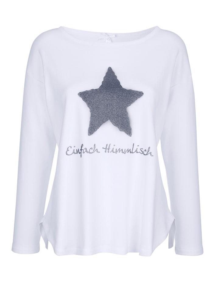 Louis & Louisa T-shirt de loisirs à imprimé brillant et inscription mode, Blanc/Bleu fumée