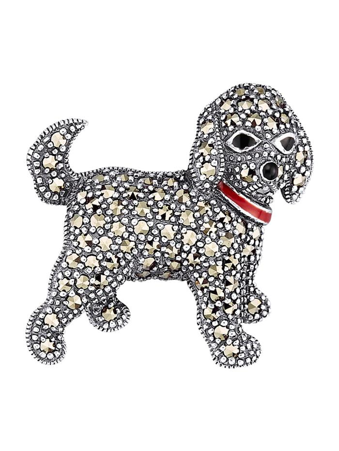 Esse Brosch – hund, silver 925, Silverfärgad