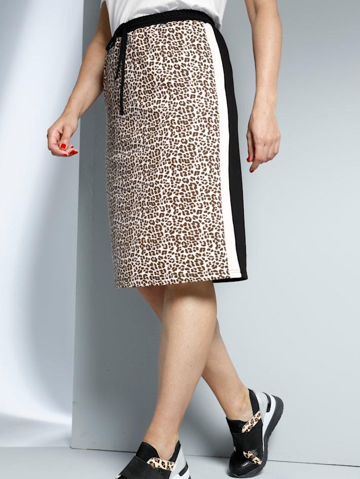 MIAMODA Jupe à motif rayé et léopard, Noir/Beige/Crème