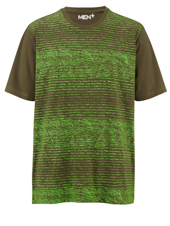 Men Plus T-skjorte i materiale som tørker fort, Oliven/Neongrønn