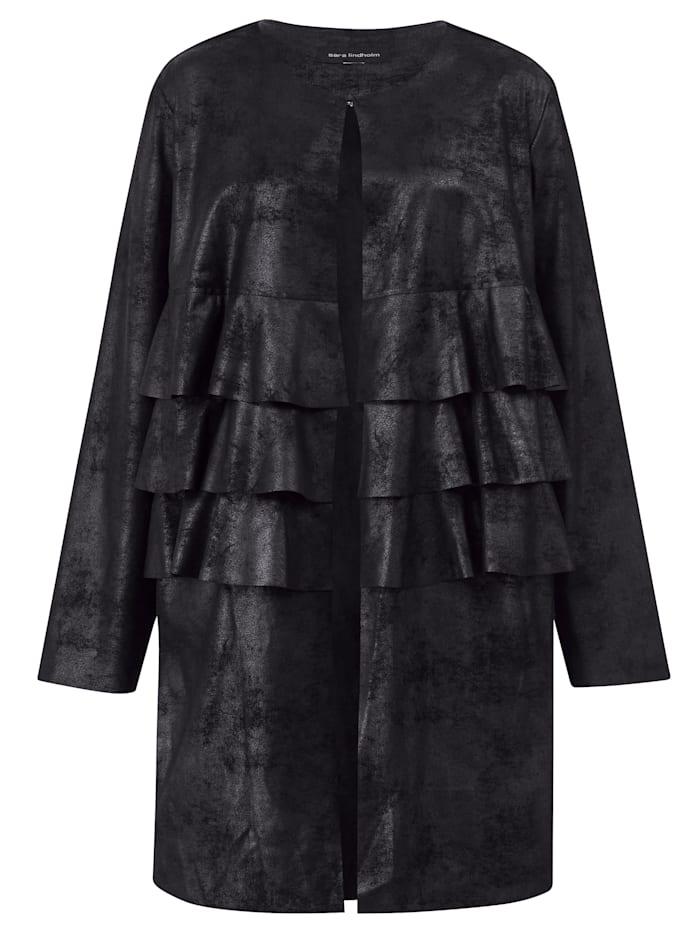 Dlhá bunda s imitáciou velúrovej kože