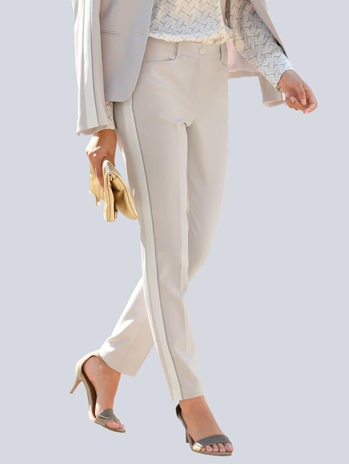 Alba Moda Pantalon à galons sur le côté des jambes, Taupe