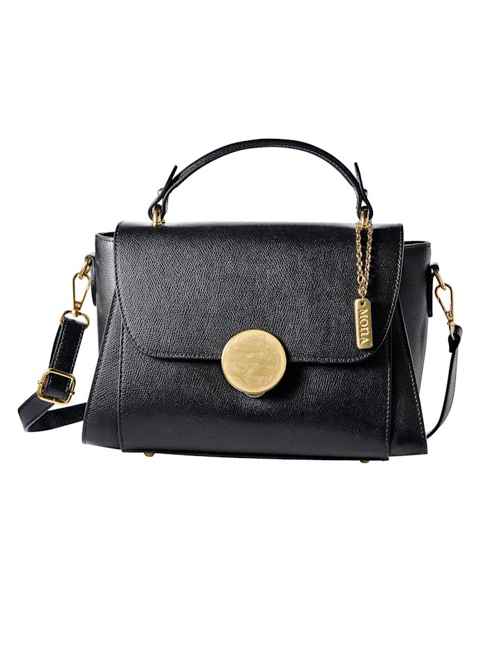 MONA Handtasche mit dekorativem Steckverschluss, schwarz