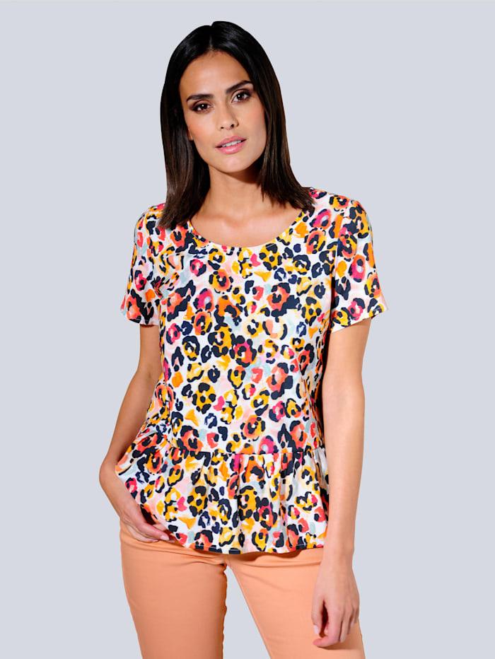 Alba Moda Blouse met trendy print, Wit/Rood/Oranje/Zwart