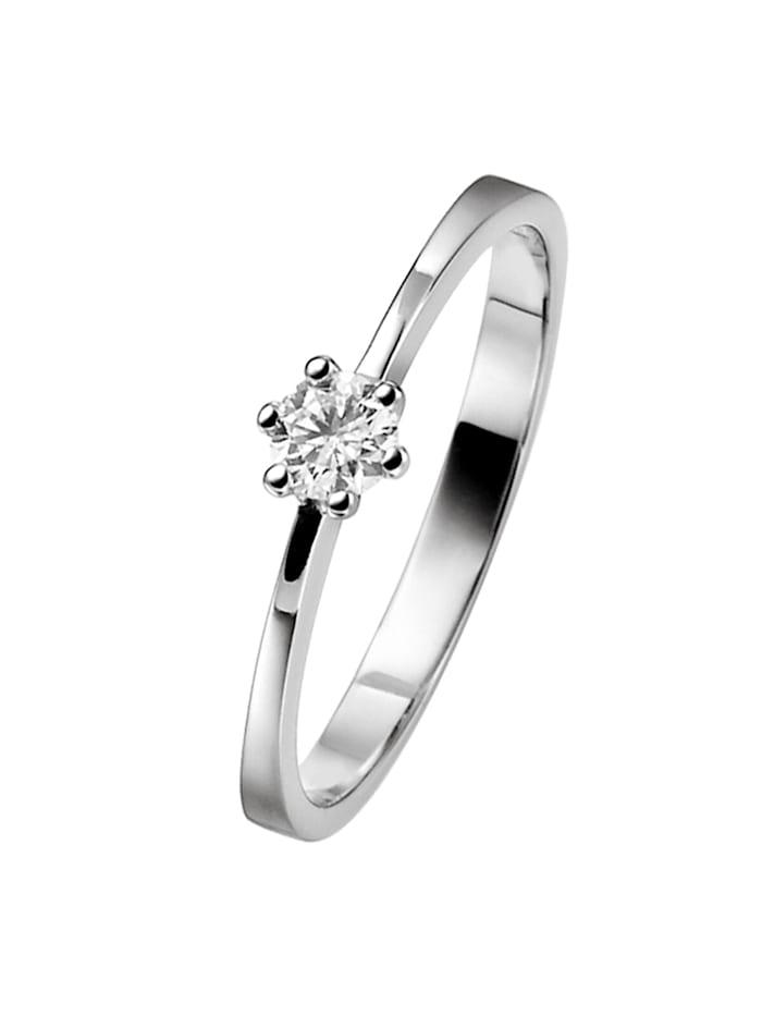 trendor Verlobungsring 585 Weißgold Brillant 0,10 Karat Heiratsantrag, silber