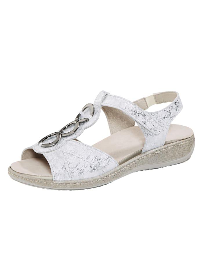 Naturläufer Sandale aus schimmerndem Leder, Weiß