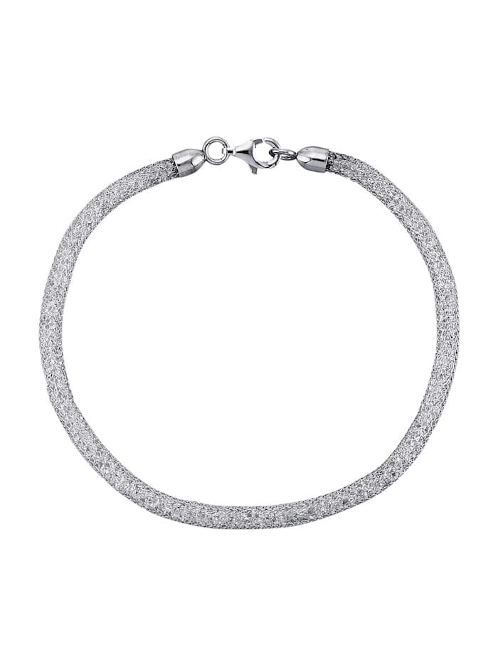 Mesharmband van echt zilver, Zilverkleur