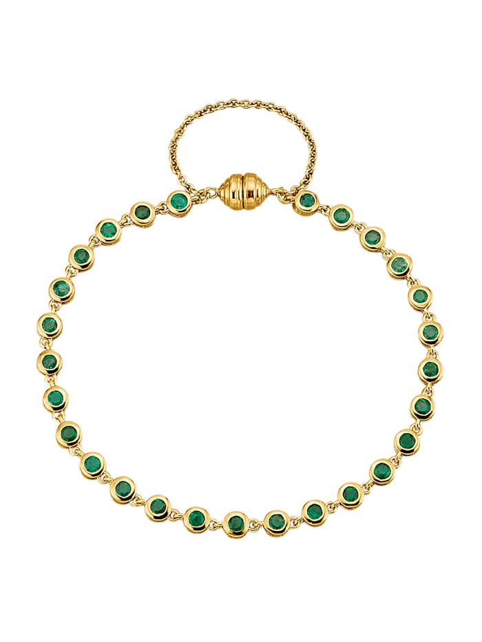 Amara Farbstein Armband mit Smaragden, Grün