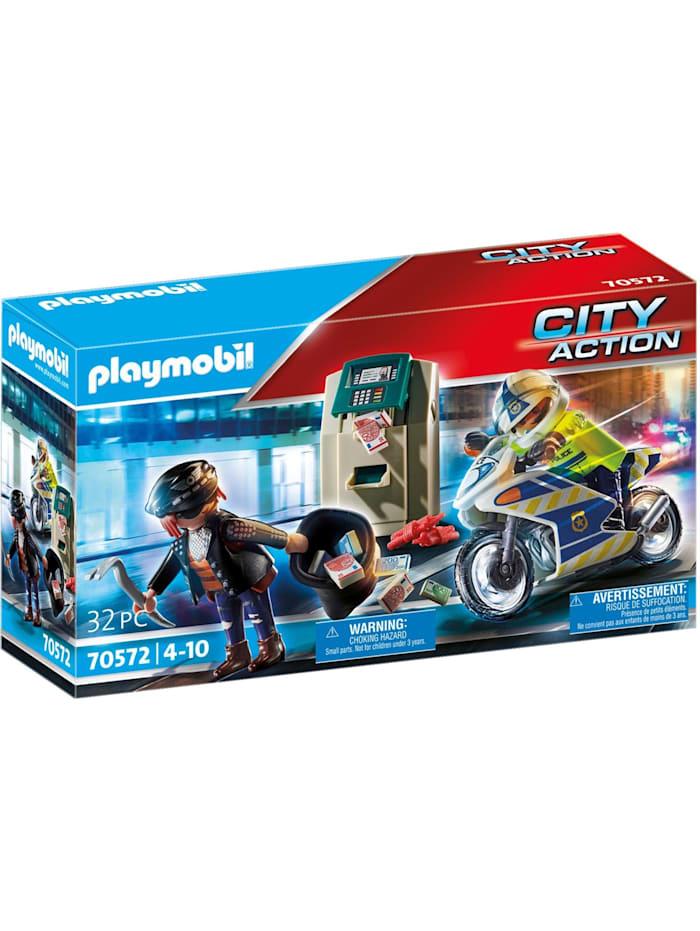 PLAYMOBIL Konstruktionsspielzeug Polizei-Motorrad: Verfolgung des Geldräubers, Bunt