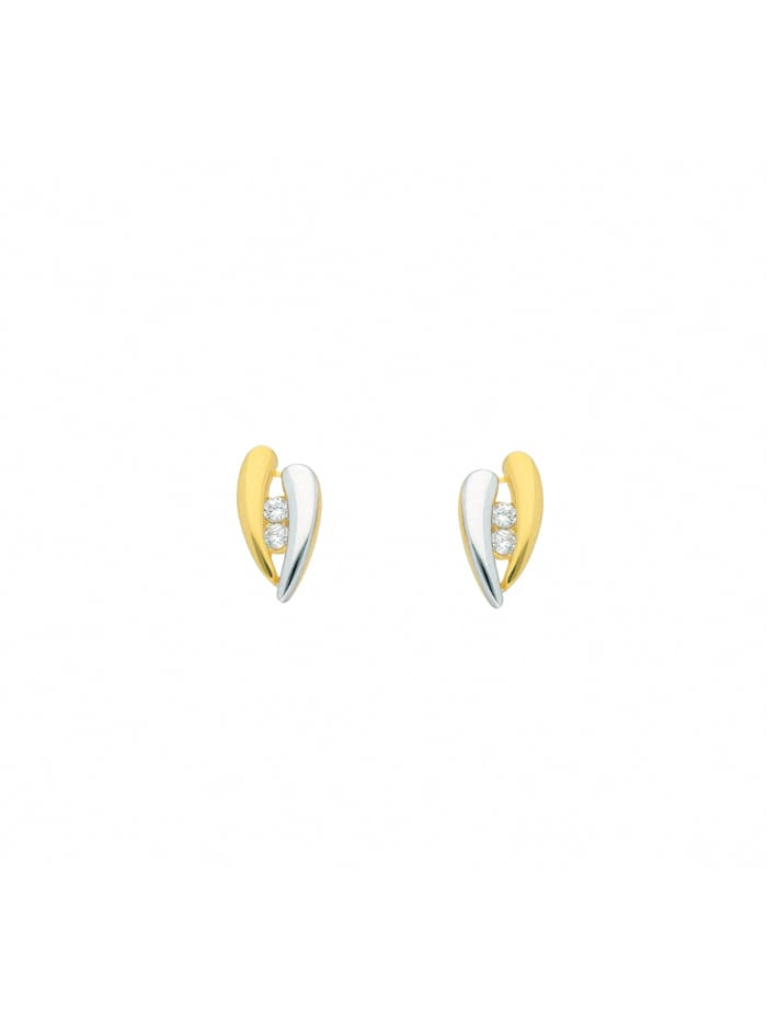1001 Diamonds Damen Goldschmuck 333 Gold Ohrringe / Ohrstecker mit Zirkonia, gold