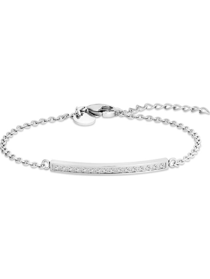 FAVS. FAVS Damen-Armband Edelstahl 16 Zirkonia, silber